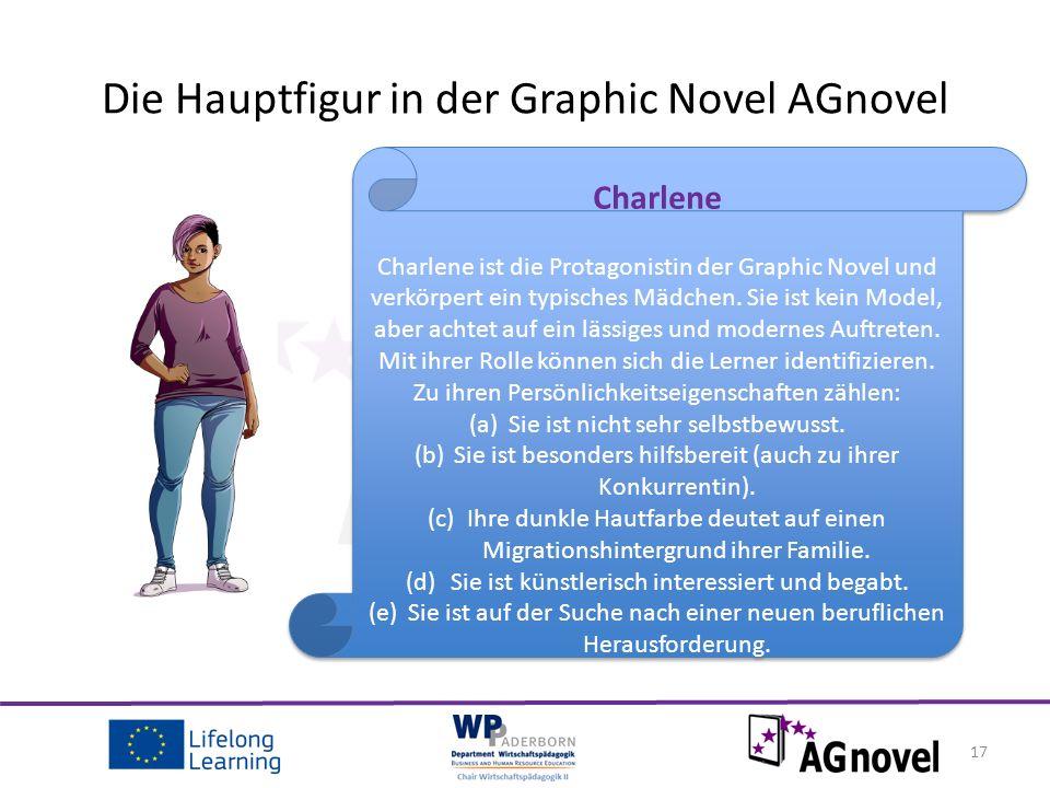 17 Die Hauptfigur in der Graphic Novel AGnovel Charlene Charlene ist die Protagonistin der Graphic Novel und verkörpert ein typisches Mädchen.