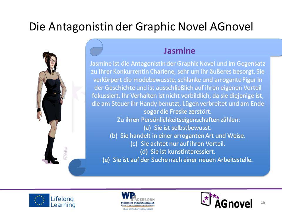 18 Die Antagonistin der Graphic Novel AGnovel Jasmine ist die Antagonistin der Graphic Novel und im Gegensatz zu Ihrer Konkurrentin Charlene, sehr um ihr äußeres besorgt.