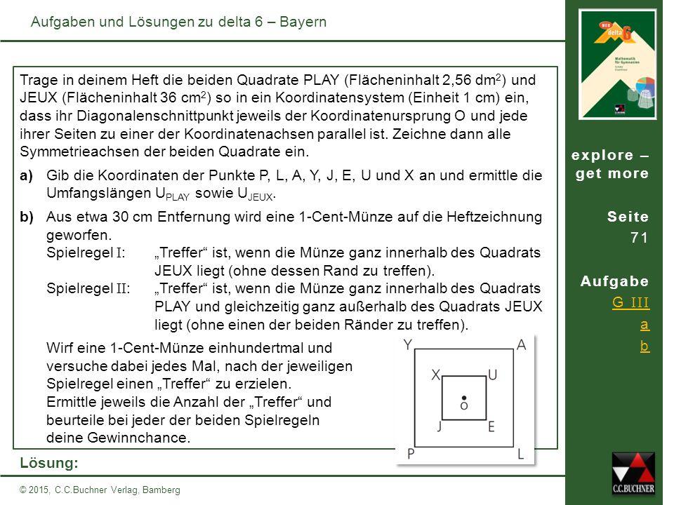explore – get more Seite 71 Aufgabe G III a b © 2015, C.C.Buchner Verlag, Bamberg Aufgaben und Lösungen zu delta 6 – Bayern Trage in deinem Heft die beiden Quadrate PLAY (Flächeninhalt 2,56 dm 2 ) und JEUX (Flächeninhalt 36 cm 2 ) so in ein Koordinatensystem (Einheit 1 cm) ein, dass ihr Diagonalenschnittpunkt jeweils der Koordinatenursprung O und jede ihrer Seiten zu einer der Koordinatenachsen parallel ist.