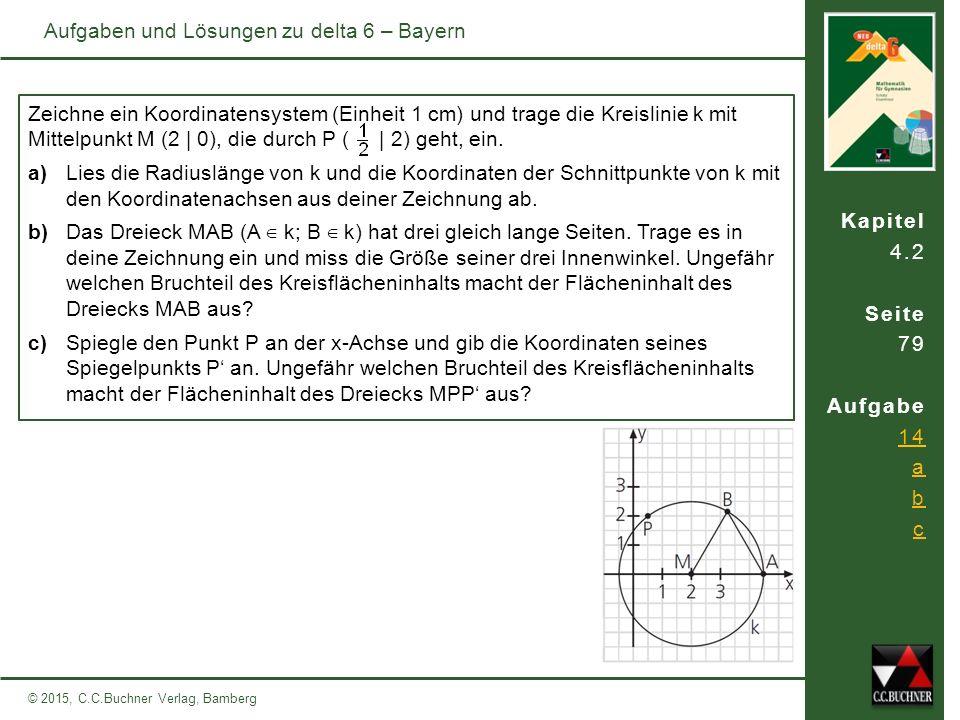 Kapitel 4.2 Seite 79 Aufgabe 14 a b c © 2015, C.C.Buchner Verlag, Bamberg Aufgaben und Lösungen zu delta 6 – Bayern Zeichne ein Koordinatensystem (Einheit 1 cm) und trage die Kreislinie k mit Mittelpunkt M (2 | 0), die durch P ( | 2) geht, ein.