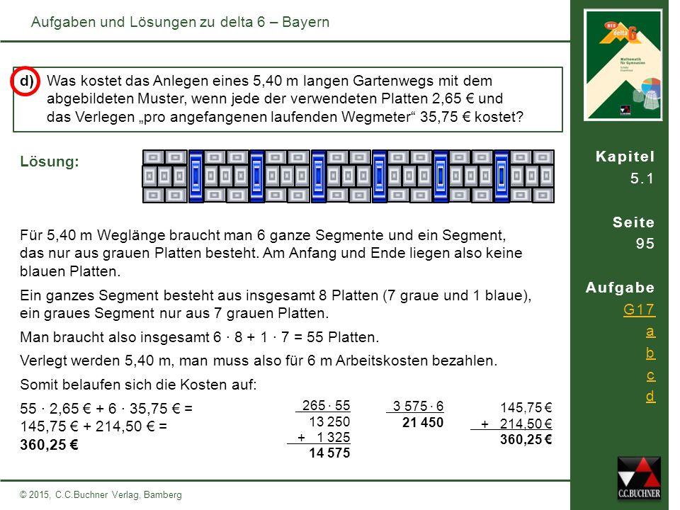 Kapitel 5.1 Seite 95 Aufgabe G17 a b c d © 2015, C.C.Buchner Verlag, Bamberg Aufgaben und Lösungen zu delta 6 – Bayern d) Was kostet das Anlegen eines