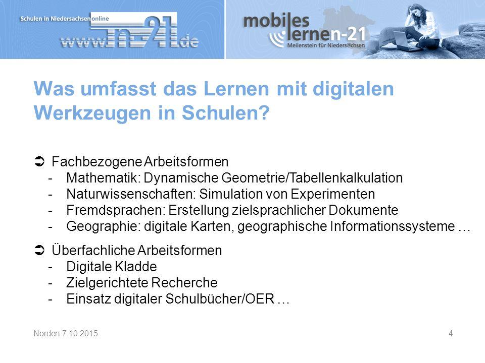 Was umfasst das Lernen mit digitalen Werkzeugen in Schulen?  Fachbezogene Arbeitsformen -Mathematik: Dynamische Geometrie/Tabellenkalkulation -Naturw