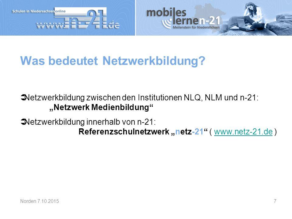 """Was bedeutet Netzwerkbildung?  Netzwerkbildung zwischen den Institutionen NLQ, NLM und n-21: """"Netzwerk Medienbildung""""  Netzwerkbildung innerhalb von"""
