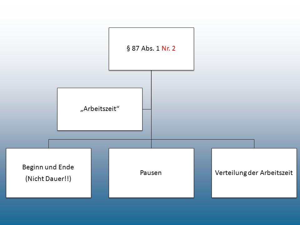 """§ 87 Abs. 1 Nr. 2 Beginn und Ende (Nicht Dauer!!) PausenVerteilung der Arbeitszeit """"Arbeitszeit"""""""