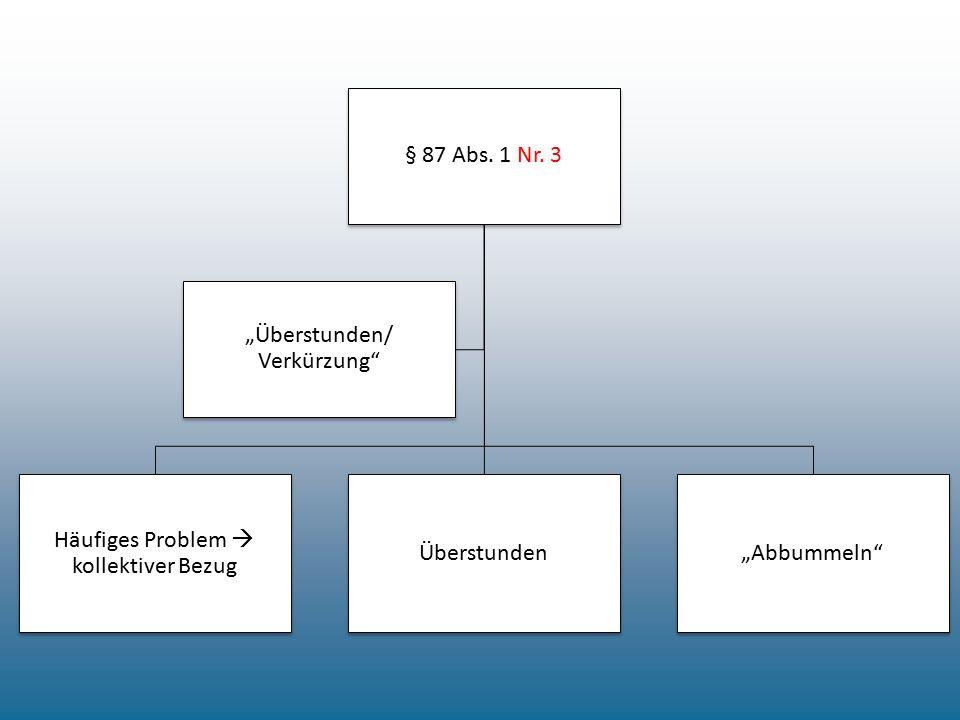"§ 87 Abs. 1 Nr. 3 Häufiges Problem  kollektiver Bezug Überstunden""Abbummeln"" ""Überstunden/ Verkürzung"""