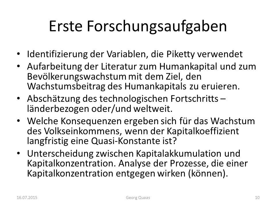 Erste Forschungsaufgaben Identifizierung der Variablen, die Piketty verwendet Aufarbeitung der Literatur zum Humankapital und zum Bevölkerungswachstum mit dem Ziel, den Wachstumsbeitrag des Humankapitals zu eruieren.