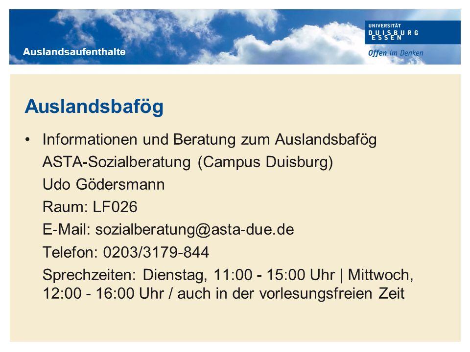 Titelmasterformat durch Klicken bearbeiten Auslandsbafög Informationen und Beratung zum Auslandsbafög ASTA-Sozialberatung (Campus Duisburg) Udo Göders
