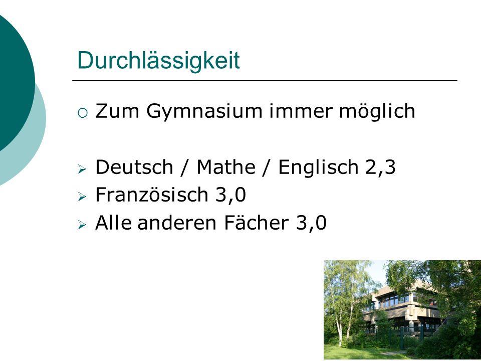 Durchlässigkeit  Zum Gymnasium immer möglich  Deutsch / Mathe / Englisch 2,3  Französisch 3,0  Alle anderen Fächer 3,0