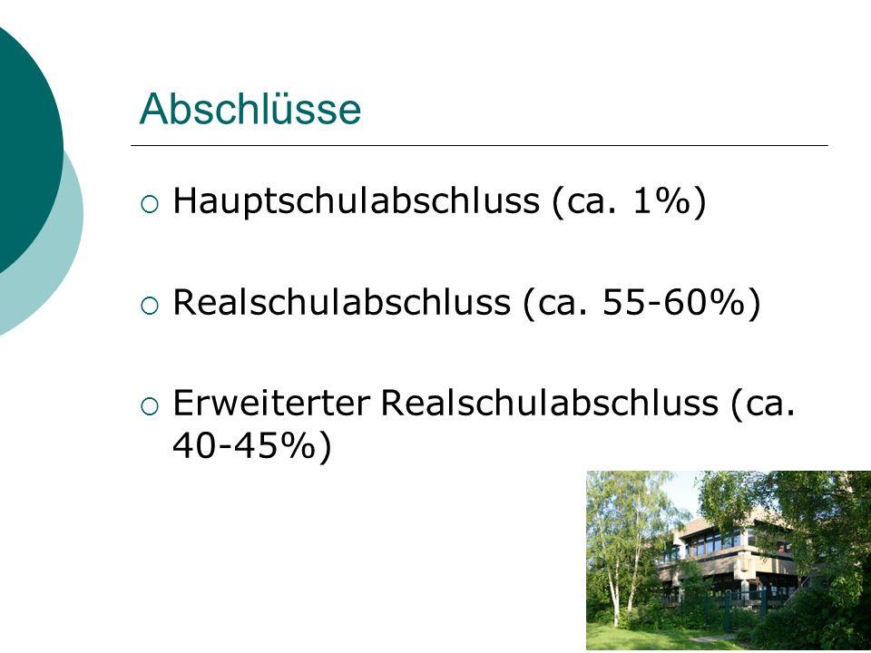 Abschlüsse  Hauptschulabschluss (ca. 1%)  Realschulabschluss (ca. 55-60%)  Erweiterter Realschulabschluss (ca. 40-45%)