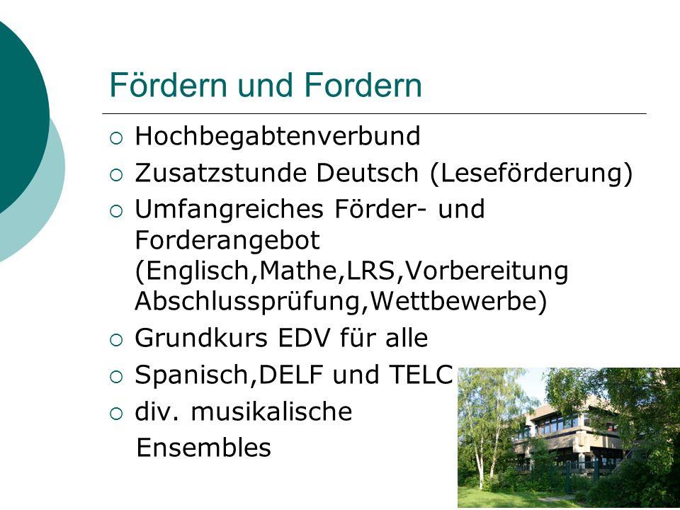 Fördern und Fordern  Hochbegabtenverbund  Zusatzstunde Deutsch (Leseförderung)  Umfangreiches Förder- und Forderangebot (Englisch,Mathe,LRS,Vorbere