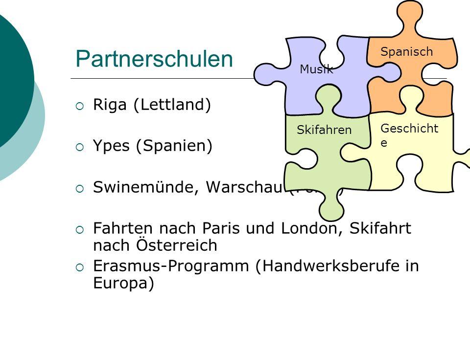 Partnerschulen  Riga (Lettland)  Ypes (Spanien)  Swinemünde, Warschau (Polen)  Fahrten nach Paris und London, Skifahrt nach Österreich  Erasmus-P