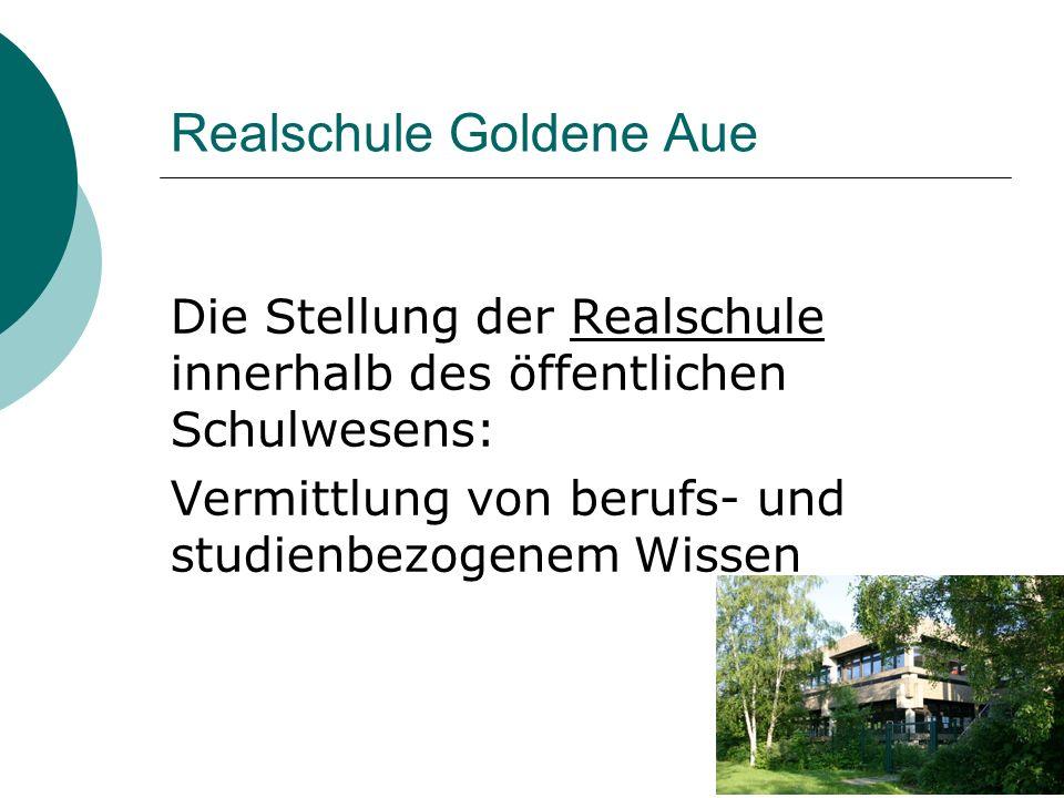 Realschule Goldene Aue Die Stellung der Realschule innerhalb des öffentlichen Schulwesens: Vermittlung von berufs- und studienbezogenem Wissen