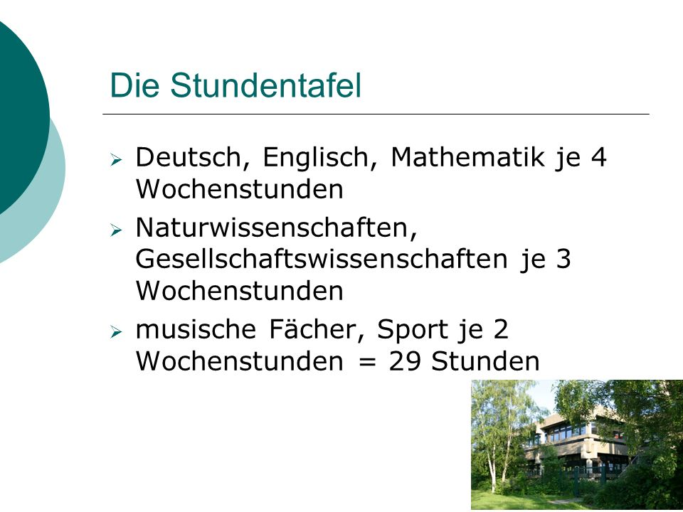 Die Stundentafel  Deutsch, Englisch, Mathematik je 4 Wochenstunden  Naturwissenschaften, Gesellschaftswissenschaften je 3 Wochenstunden  musische F