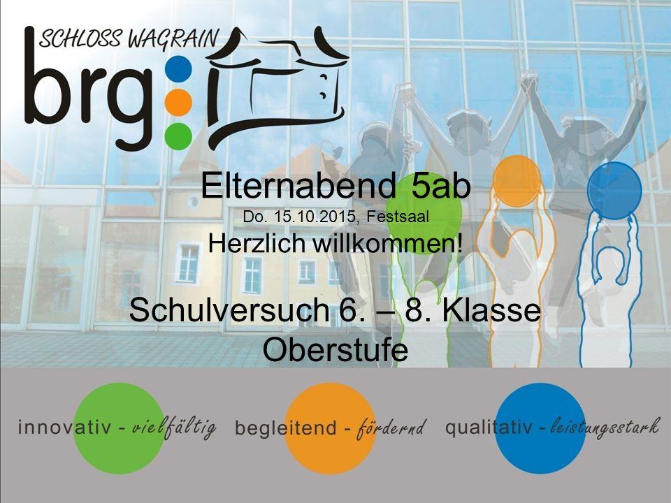 Elternabend 5ab Do. 15.10.2015, Festsaal Herzlich willkommen! Schulversuch 6. – 8. Klasse Oberstufe