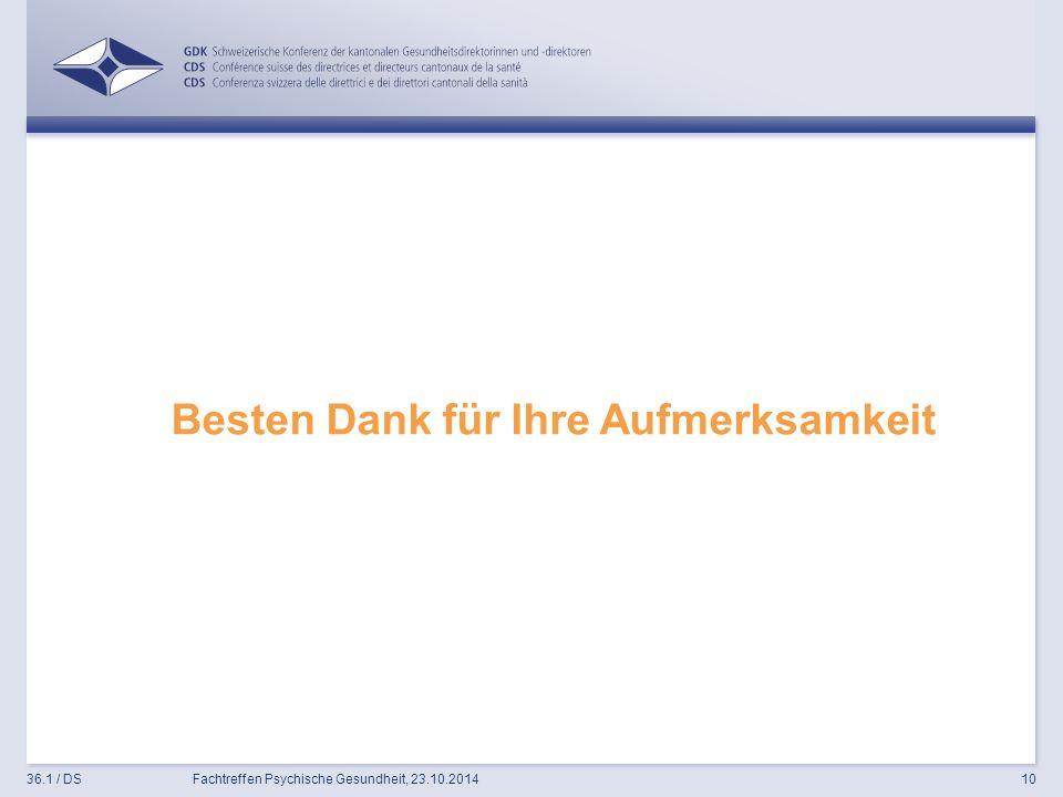 Besten Dank für Ihre Aufmerksamkeit 36.1 / DSFachtreffen Psychische Gesundheit, 23.10.201410