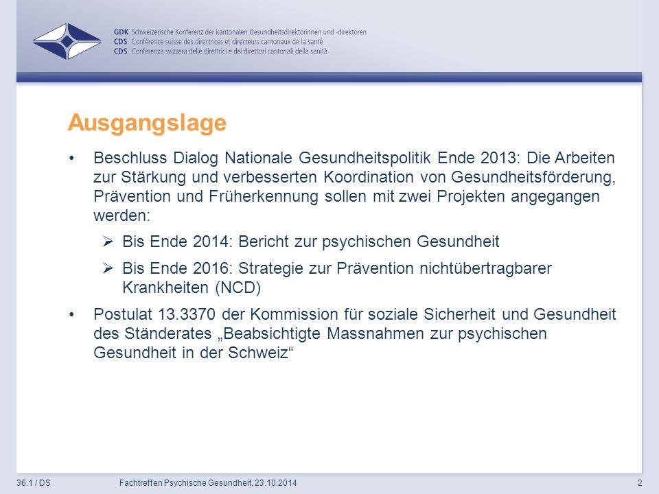 """Ausgangslage Beschluss Dialog Nationale Gesundheitspolitik Ende 2013: Die Arbeiten zur Stärkung und verbesserten Koordination von Gesundheitsförderung, Prävention und Früherkennung sollen mit zwei Projekten angegangen werden:  Bis Ende 2014: Bericht zur psychischen Gesundheit  Bis Ende 2016: Strategie zur Prävention nichtübertragbarer Krankheiten (NCD) Postulat 13.3370 der Kommission für soziale Sicherheit und Gesundheit des Ständerates """"Beabsichtigte Massnahmen zur psychischen Gesundheit in der Schweiz 36.1 / DSFachtreffen Psychische Gesundheit, 23.10.20142"""