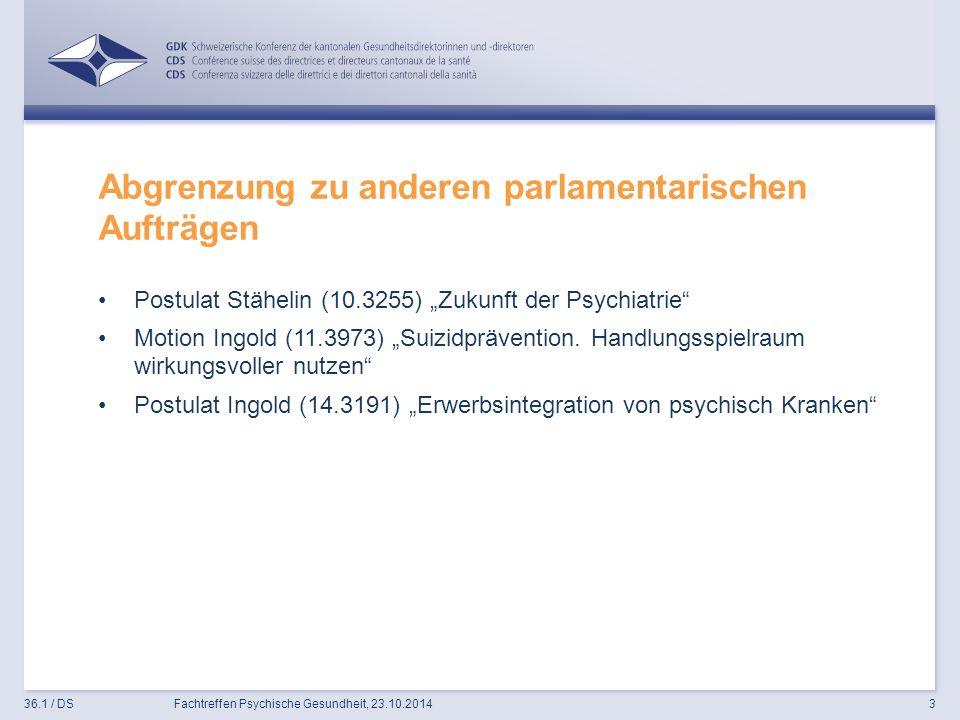 """Abgrenzung zu anderen parlamentarischen Aufträgen Postulat Stähelin (10.3255) """"Zukunft der Psychiatrie Motion Ingold (11.3973) """"Suizidprävention."""