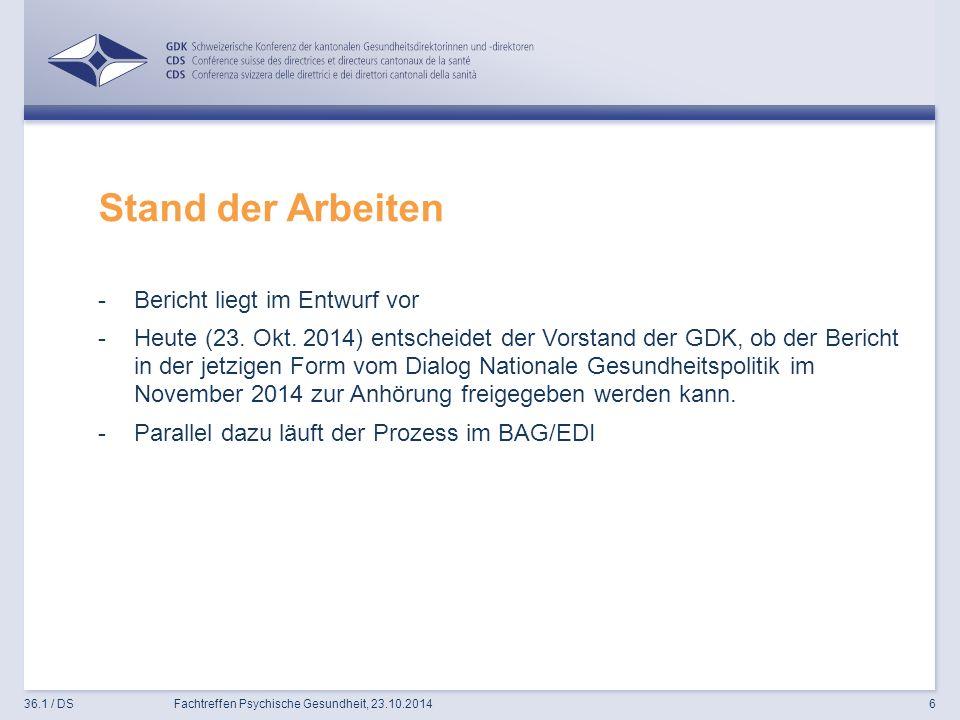 Stand der Arbeiten -Bericht liegt im Entwurf vor -Heute (23.