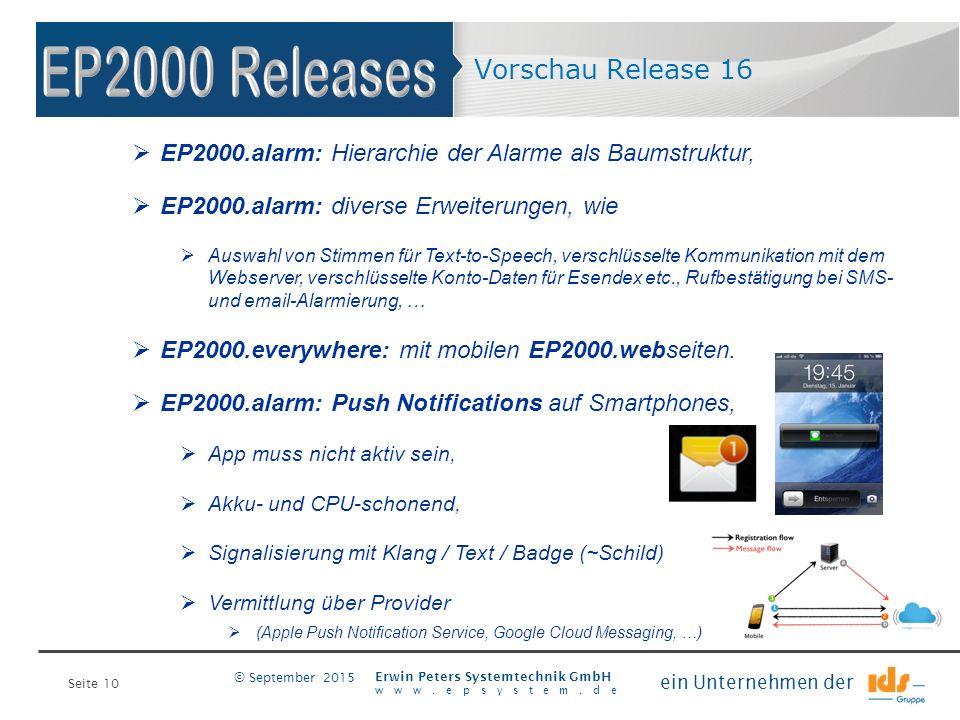 Seite 10 Erwin Peters Systemtechnik GmbH www.epsystem.de ein Unternehmen der © September 2015 Vorschau Release 16  EP2000.alarm: Hierarchie der Alarm