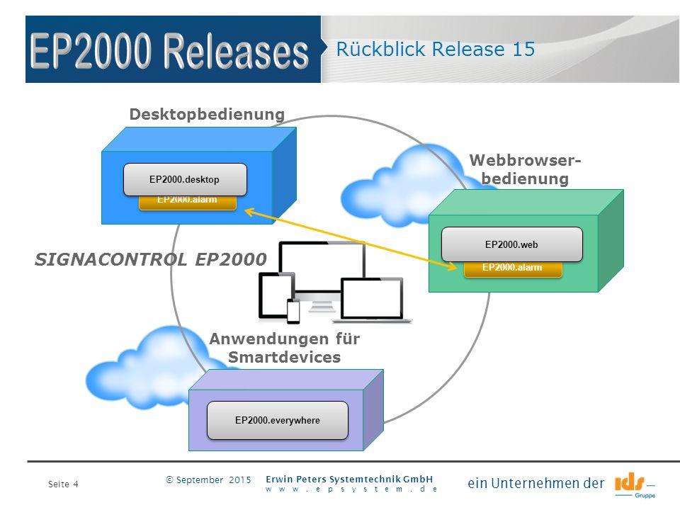 Seite 4 Erwin Peters Systemtechnik GmbH www.epsystem.de ein Unternehmen der © September 2015 Webbrowser- bedienung Rückblick Release 15 Desktopbedienu