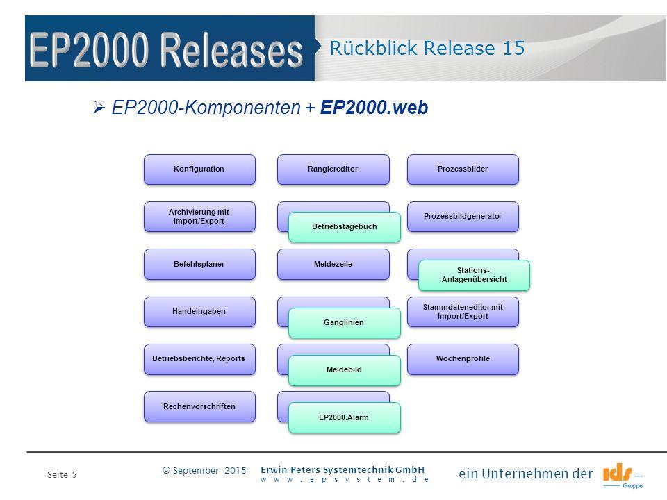 Seite 5 Erwin Peters Systemtechnik GmbH www.epsystem.de ein Unternehmen der © September 2015 Rückblick Release 15 Prozessbildgenerator Betriebstagebuc