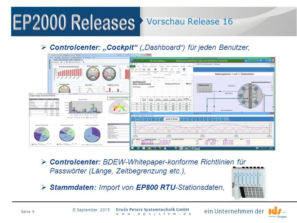 """Seite 9 Erwin Peters Systemtechnik GmbH www.epsystem.de ein Unternehmen der © September 2015 Vorschau Release 16  Controlcenter: """"Cockpit"""" (""""Dashboar"""