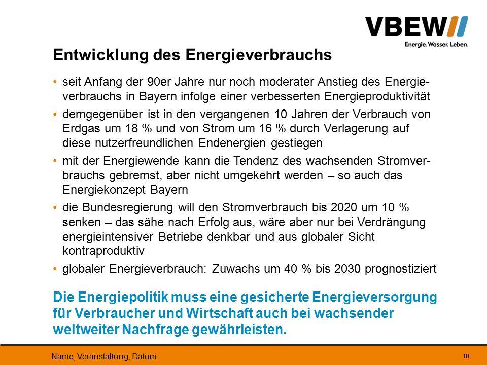 seit Anfang der 90er Jahre nur noch moderater Anstieg des Energie- verbrauchs in Bayern infolge einer verbesserten Energieproduktivität demgegenüber i