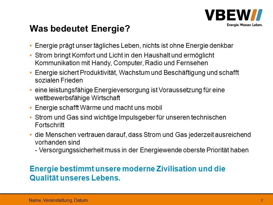 Ziele des bayerischen Energiekonzepts Ersatz der Kernenergie durch erneuerbare Energien (50 % des Strom- verbrauchs bis 2021) verstärkter Einsatz von Erdgas in 5 neuen großen Erdgaskraftwerken weitgehende Erzeugung in Bayern, um nicht auf Stromimporte angewiesen zu sein Konkret erfordert dies Ausbau der erneuerbaren Energien - die Kosten werden bis 2030 bundesweit auf 335 Mrd.