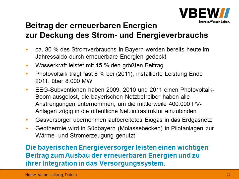 ca. 30 % des Stromverbrauchs in Bayern werden bereits heute im Jahressaldo durch erneuerbare Energien gedeckt Wasserkraft leistet mit 15 % den größten