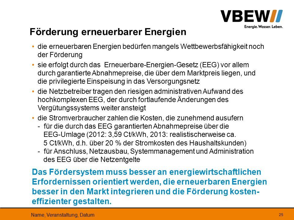 die erneuerbaren Energien bedürfen mangels Wettbewerbsfähigkeit noch der Förderung sie erfolgt durch das Erneuerbare-Energien-Gesetz (EEG) vor allem d