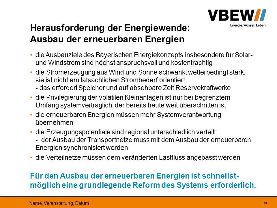 die Ausbauziele des Bayerischen Energiekonzepts insbesondere für Solar- und Windstrom sind höchst anspruchsvoll und kostenträchtig die Stromerzeugung