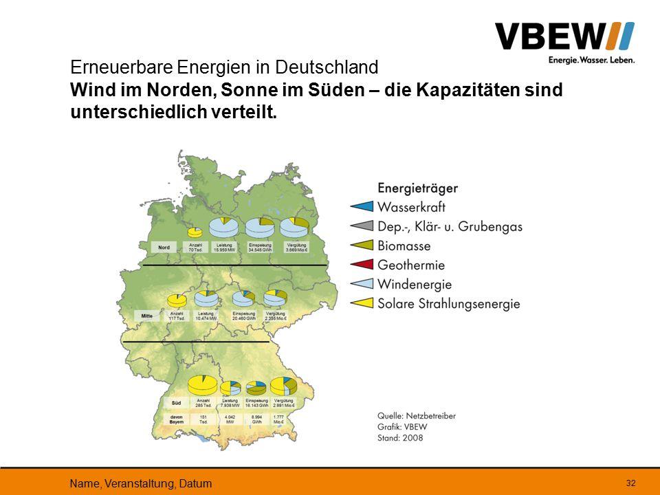 32 Erneuerbare Energien in Deutschland Wind im Norden, Sonne im Süden – die Kapazitäten sind unterschiedlich verteilt. Name, Veranstaltung, Datum