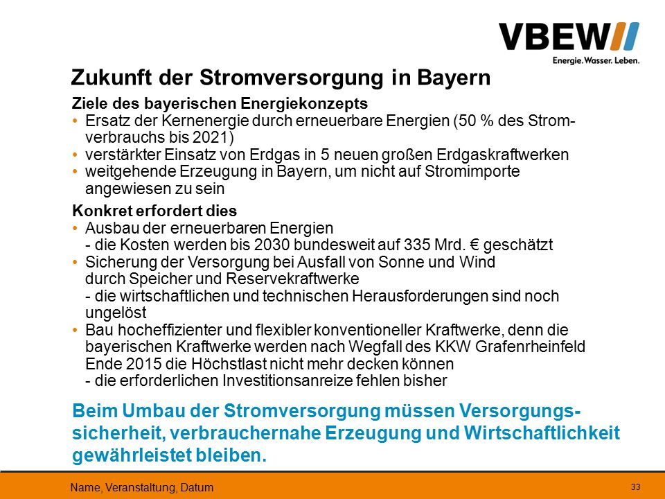 Ziele des bayerischen Energiekonzepts Ersatz der Kernenergie durch erneuerbare Energien (50 % des Strom- verbrauchs bis 2021) verstärkter Einsatz von