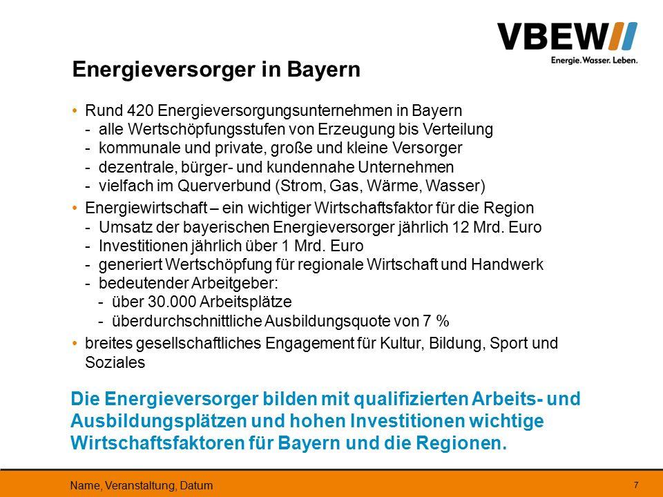 seit Anfang der 90er Jahre nur noch moderater Anstieg des Energie- verbrauchs in Bayern infolge einer verbesserten Energieproduktivität demgegenüber ist in den vergangenen 10 Jahren der Verbrauch von Erdgas um 18 % und von Strom um 16 % durch Verlagerung auf diese nutzerfreundlichen Endenergien gestiegen mit der Energiewende kann die Tendenz des wachsenden Stromver- brauchs gebremst, aber nicht umgekehrt werden – so auch das Energiekonzept Bayern die Bundesregierung will den Stromverbrauch bis 2020 um 10 % senken – das sähe nach Erfolg aus, wäre aber nur bei Verdrängung energieintensiver Betriebe denkbar und aus globaler Sicht kontraproduktiv globaler Energieverbrauch: Zuwachs um 40 % bis 2030 prognostiziert Entwicklung des Energieverbrauchs Name, Veranstaltung, Datum 18 Die Energiepolitik muss eine gesicherte Energieversorgung für Verbraucher und Wirtschaft auch bei wachsender weltweiter Nachfrage gewährleisten.