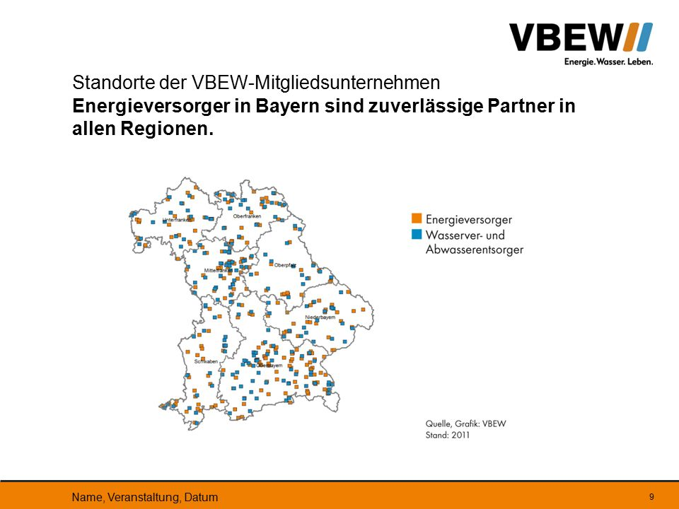 9 Standorte der VBEW-Mitgliedsunternehmen Energieversorger in Bayern sind zuverlässige Partner in allen Regionen. Name, Veranstaltung, Datum