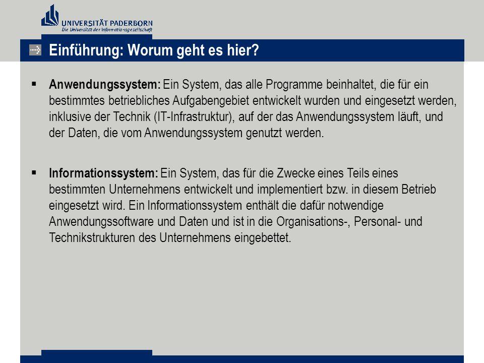  Anwendungssystem: Ein System, das alle Programme beinhaltet, die für ein bestimmtes betriebliches Aufgabengebiet entwickelt wurden und eingesetzt werden, inklusive der Technik (IT-Infrastruktur), auf der das Anwendungssystem läuft, und der Daten, die vom Anwendungssystem genutzt werden.