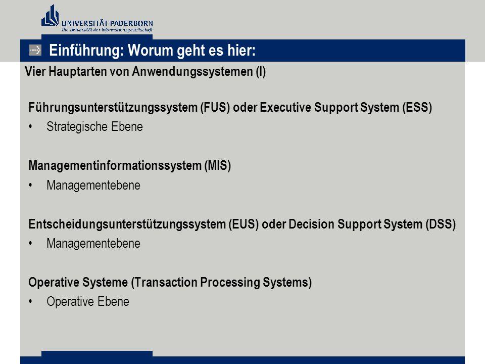Einführung: Worum geht es hier: Vier Hauptarten von Anwendungssystemen (I) Führungsunterstützungssystem (FUS) oder Executive Support System (ESS) Strategische Ebene Managementinformationssystem (MIS) Managementebene Entscheidungsunterstützungssystem (EUS) oder Decision Support System (DSS) Managementebene Operative Systeme (Transaction Processing Systems) Operative Ebene