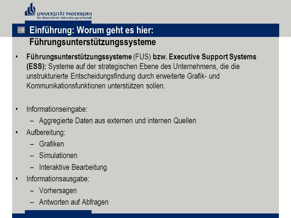 Einführung: Worum geht es hier: Führungsunterstützungssysteme Führungsunterstützungssysteme (FUS) bzw.