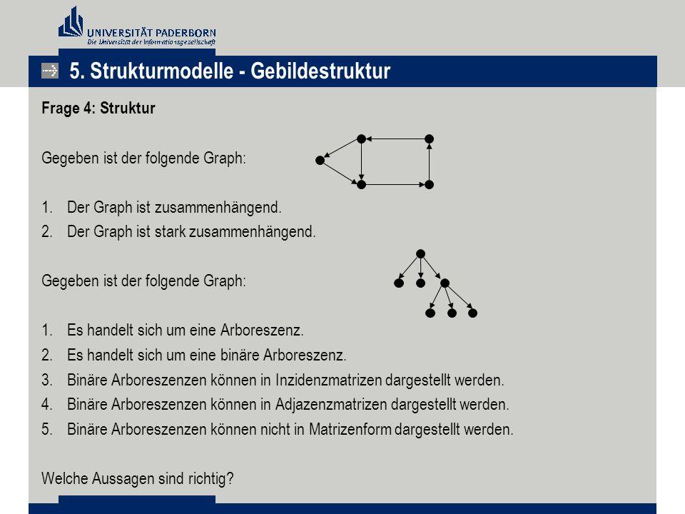5. Strukturmodelle - Gebildestruktur Frage 4: Struktur Gegeben ist der folgende Graph: 1.Der Graph ist zusammenhängend. 2.Der Graph ist stark zusammen