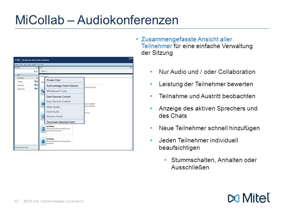   ©2015 Mitel. Unternehmenseigen und vertraulich. MiCollab – Audiokonferenzen Zusammengefasste Ansicht aller Teilnehmer für eine einfache Verwaltung d