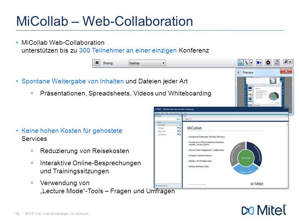   ©2015 Mitel. Unternehmenseigen und vertraulich. MiCollab – Web-Collaboration MiCollab Web-Collaboration unterstützen bis zu 300 Teilnehmer an einer