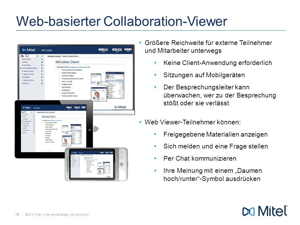   ©2015 Mitel. Unternehmenseigen und vertraulich. Web-basierter Collaboration-Viewer Größere Reichweite für externe Teilnehmer und Mitarbeiter unterwe
