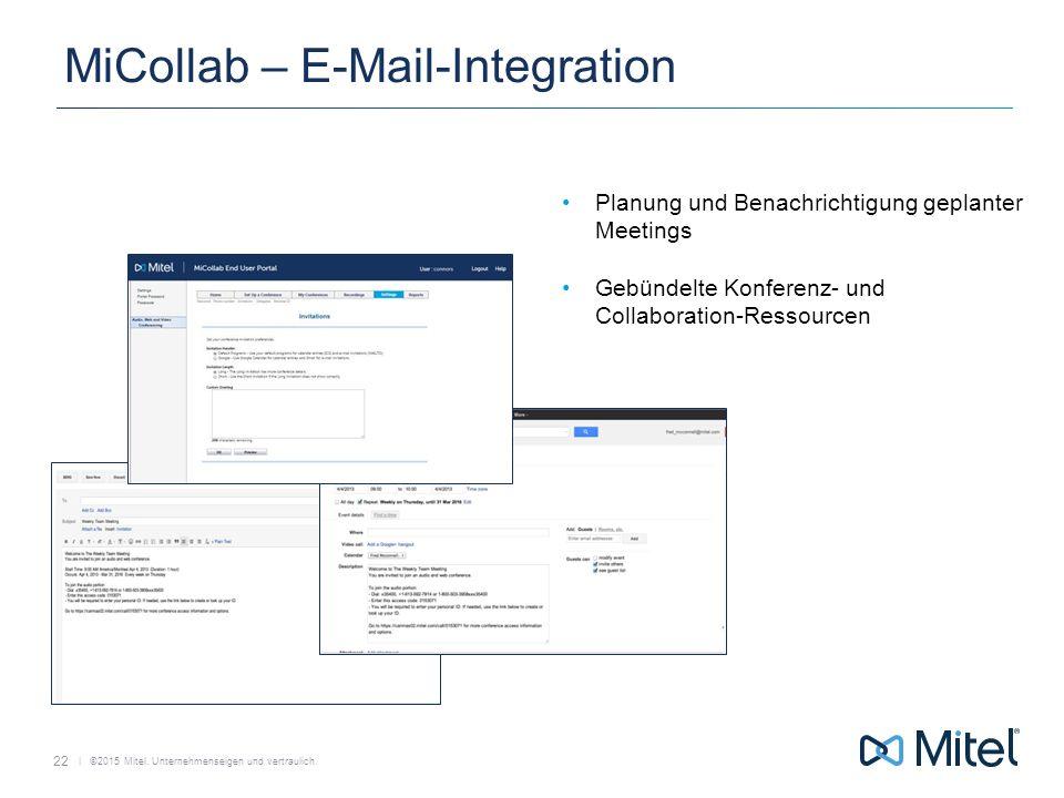   ©2015 Mitel. Unternehmenseigen und vertraulich. MiCollab – E-Mail-Integration Planung und Benachrichtigung geplanter Meetings Gebündelte Konferenz-
