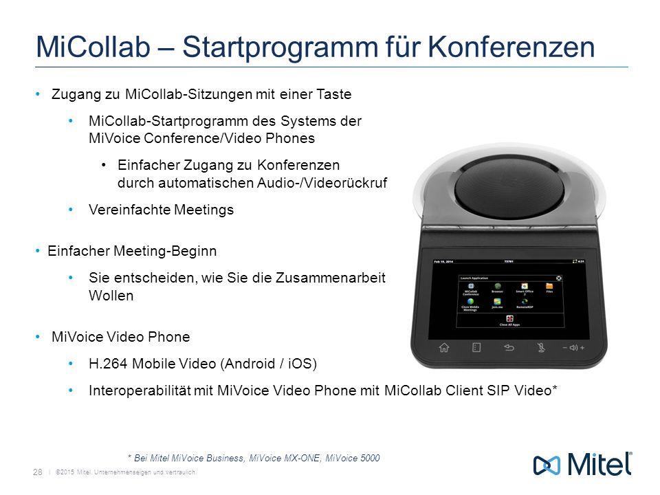   ©2015 Mitel. Unternehmenseigen und vertraulich. MiCollab – Startprogramm für Konferenzen Zugang zu MiCollab-Sitzungen mit einer Taste MiCollab-Start