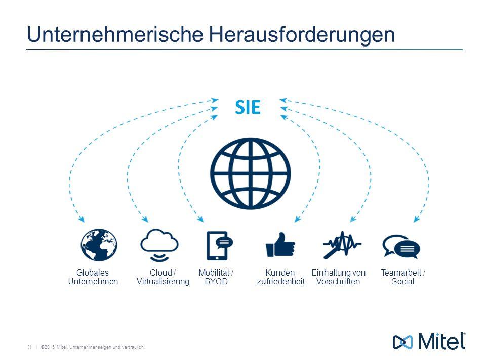   ©2015 Mitel. Unternehmenseigen und vertraulich. Unternehmerische Herausforderungen 3 Globales Unternehmen Mobilität / BYOD Cloud / Virtualisierung T