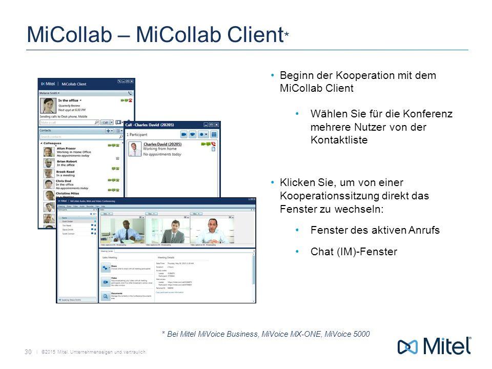   ©2015 Mitel. Unternehmenseigen und vertraulich. MiCollab – MiCollab Client * Beginn der Kooperation mit dem MiCollab Client Wählen Sie für die Konfe