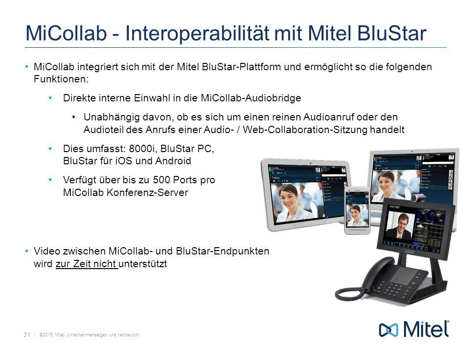   ©2015 Mitel. Unternehmenseigen und vertraulich. MiCollab - Interoperabilität mit Mitel BluStar MiCollab integriert sich mit der Mitel BluStar-Plattf