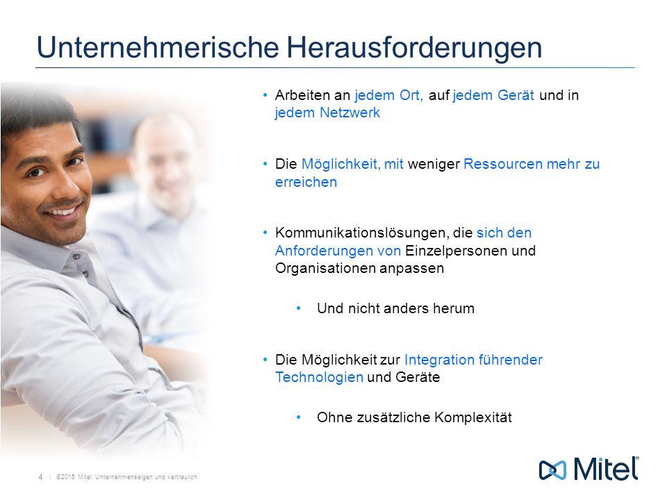   ©2015 Mitel. Unternehmenseigen und vertraulich. Unternehmerische Herausforderungen Arbeiten an jedem Ort, auf jedem Gerät und in jedem Netzwerk Die