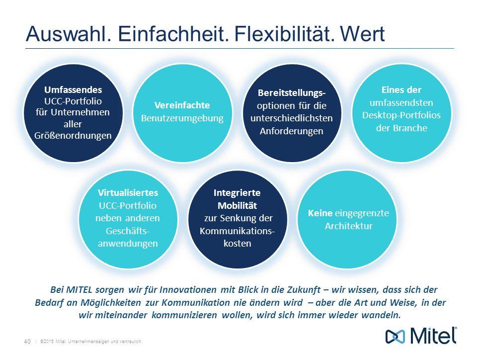   ©2015 Mitel. Unternehmenseigen und vertraulich. Auswahl. Einfachheit. Flexibilität. Wert Umfassendes UCC-Portfolio für Unternehmen aller Größenordnu