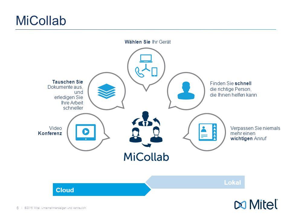   ©2015 Mitel. Unternehmenseigen und vertraulich. MiCollab 6 Video Konferenz Verpassen Sie niemals mehr einen wichtigen Anruf Finden Sie schnell die r